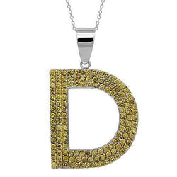 14K Solid White Gold Mens Yellow Diamond Initial Letter Pendant 3.75 Ctw