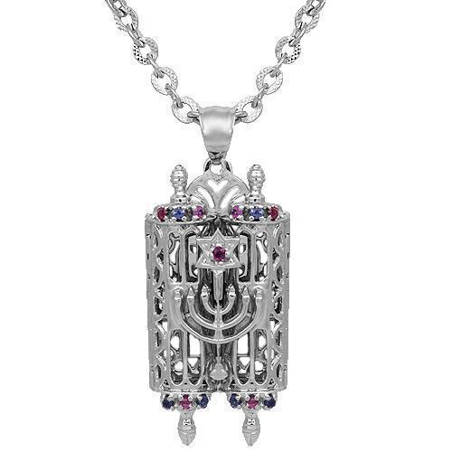 White 14K Solid White Gold Torah Pendant