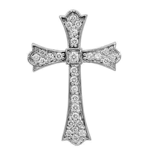 White 14K Solid White Gold Womens Diamond Cross Pendant 0.50 Ctw