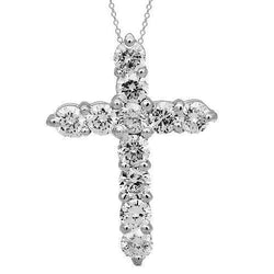 White 14K Solid White Gold Womens Diamond Cross Pendant 0.75 Ctw