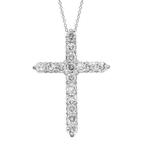 White 14K Solid White Gold Womens Diamond Cross Pendant 1.00 Ctw