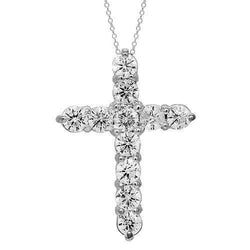 14K Solid White Gold Womens Diamond Cross Pendant 2.00 Ctw