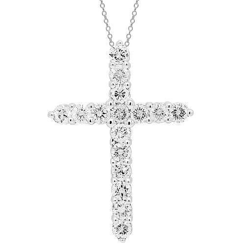 14K Solid White Gold Womens Diamond Cross Pendant 2.01 Ctw