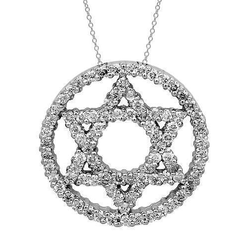 White 14K Solid White Gold Womens Diamond Star of David Pendant 1.25 Ctw