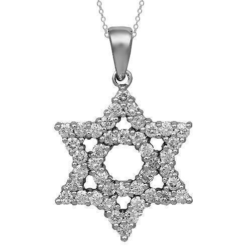 14K Solid White Gold Womens Diamond Star of David Pendant 1.76 Ctw