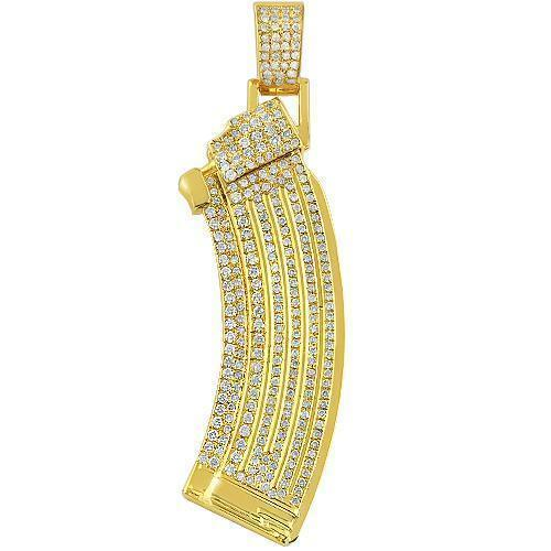 "14K Solid Yellow Gold  ""AK 47 Magazines"" Customized Diamond Pendant 1.72 Ctw"