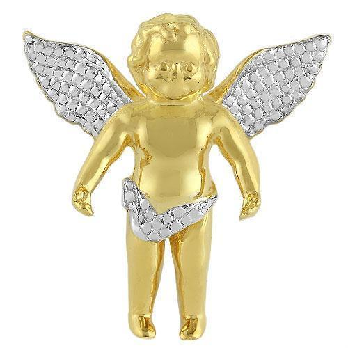 Rose, White, Yellow 14K Solid Yellow Gold Angel Pendant