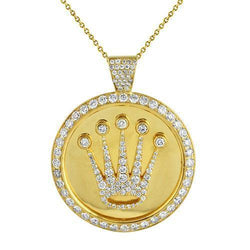14K Solid Yellow Gold Crown Pendant With Round Diamonds 5.75 Ctw