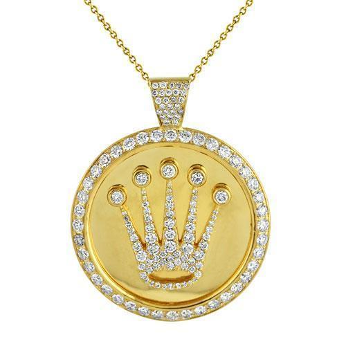 625382540afc ... 14K Solid Yellow Gold Crown Pendant With Round Diamonds 5.75 Ctw