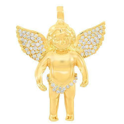 Yellow 14K Solid Yellow Gold Custom Diamond Angel Pendant 0.90 Ctw