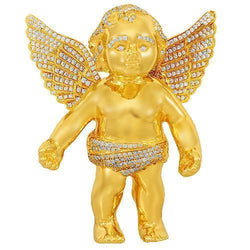 14K Solid Yellow Gold Custom Diamond Angel Pendant 7.50 Ctw