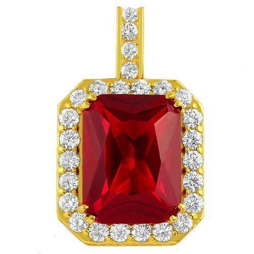 14K Solid Yellow Gold Diamond And Radiant Cut Ruby Pendant 20.00 Ctw
