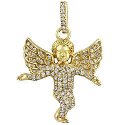 Yellow 14K Solid Yellow Gold Diamond Angel Pendant 1.00 Ctw