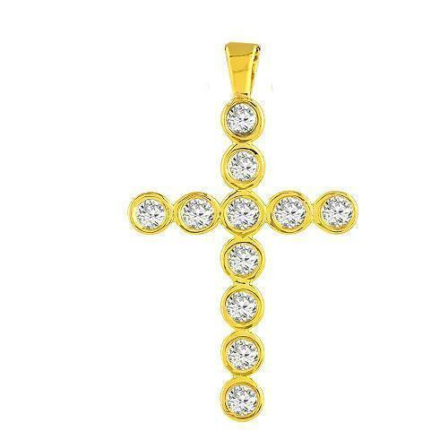 Yellow 14K  Solid Yellow Gold Diamond Cross Pendant 0.75 Ctw