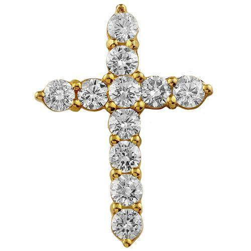 14K Solid Yellow Gold Diamond Cross Pendant 4.50 Ctw
