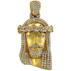 14K Solid Yellow Gold Diamond Jesus Head Pendant 3.00 Ctw
