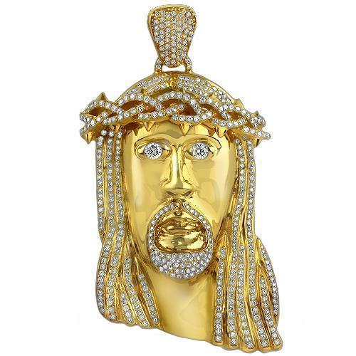 14K Solid Yellow Gold Diamond Jesus Head Pendant 9.00 Ctw