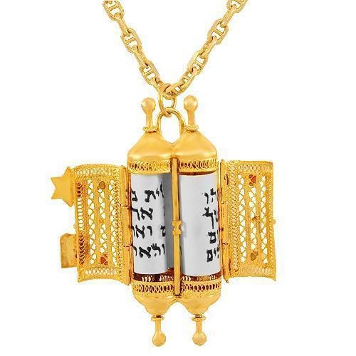 Yellow 14K Solid Yellow Gold Gemstone Torah Pendant 0.30 Ctw
