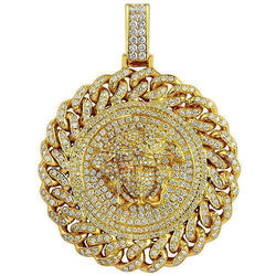 14K Solid Yellow Gold Mens Custom Design Diamond 'Medusa' Head Pendant 7.50 Ctw