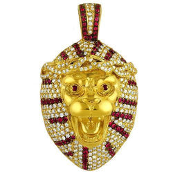 14K Solid Yellow Gold Mens Custom Design Diamond Tiger Pendant With White And Red Diamonds