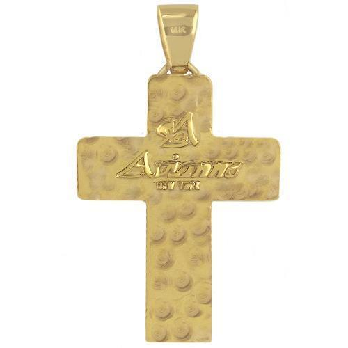 14K Solid Yellow Gold Mens Diamond Cross Pendant 3.75 Ctw