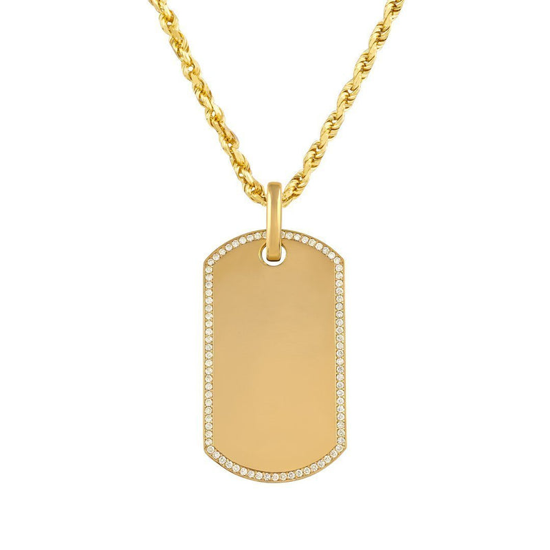 14K Solid Yellow Gold Mens Diamond Dog Tag Pendant 1.50 Ctw