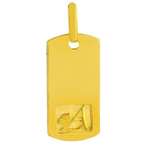 14K Solid Yellow Gold Mens Diamond Dog Tag Pendant 3.50 Ctw