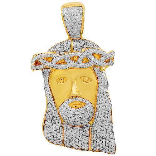 14K Solid Yellow Gold Mens Diamond Jesus Head Pendant 14.25 Ctw