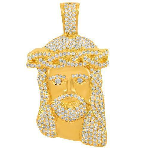 14K Solid Yellow Gold Mens Diamond Jesus Head Pendant 4.00 Ctw
