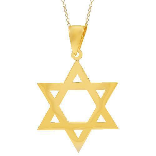 14K Solid Yellow Gold Mens Diamond Star of David Pendant 7.00 Ctw