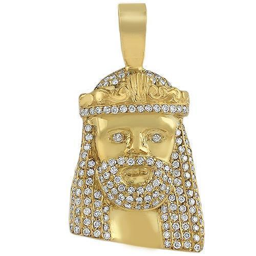 14K Solid Yellow Gold Mens Jesus Head Pendant With Round Cut Diamonds 3.00 Ctw