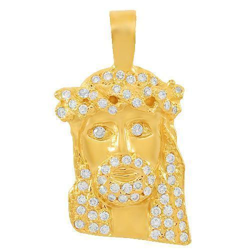 Yellow 14K Solid Yellow Gold Mens Small Jesus Head Pendant With Round Cut Diamonds 1.25 Ctw