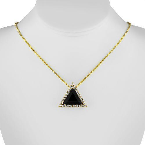 14K Solid Yellow Gold Triangular Diamond Pendant with Black Garnet 15.00 Ctw