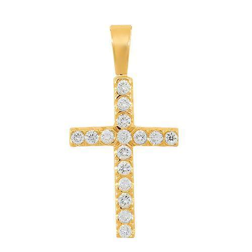 Yellow 14K Solid Yellow Gold Womens Diamond Cross Pendant 0.35 Ctw