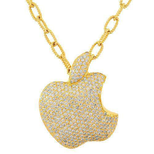 14K Solid Yellow Gold Womens Diamond Custom Apple Pendant 3.91 Ctw