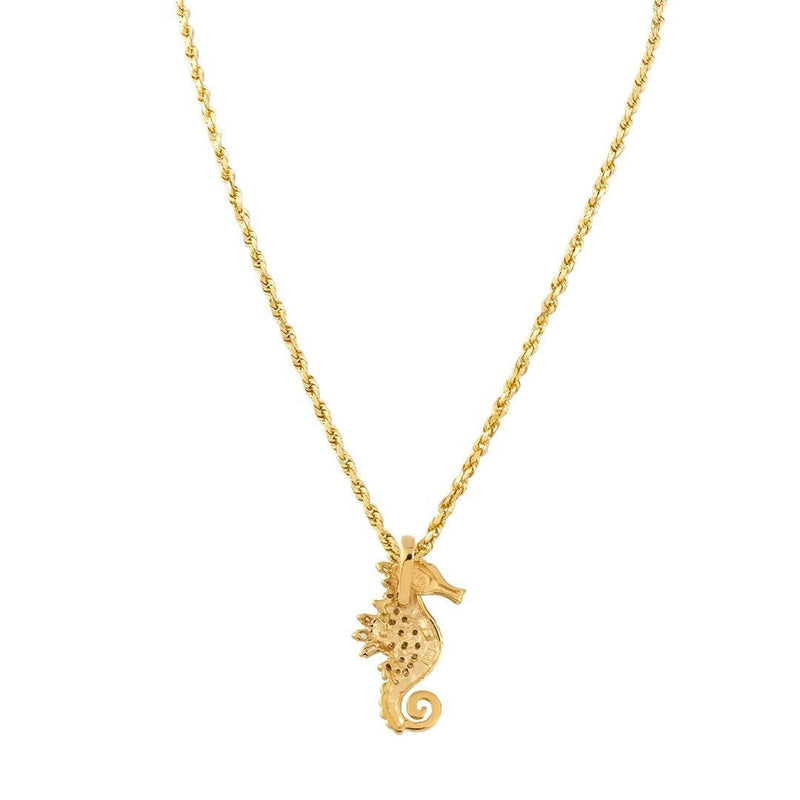 Yellow 14K Solid Yellow Gold Womens Diamond Seahorse Pendant 0.75 Ctw