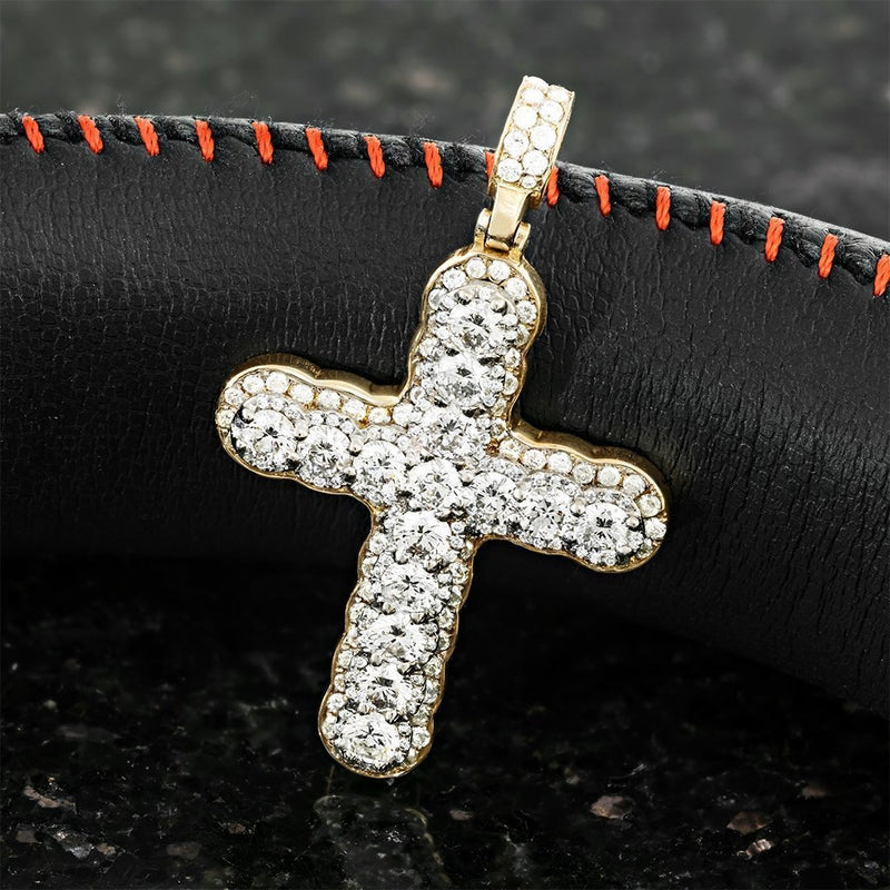 14k Two Tone Gold Diamond Cross Pendant 2.72 Ctw