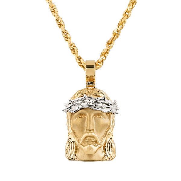 14k Two Tone Gold Jesus Head Pendant