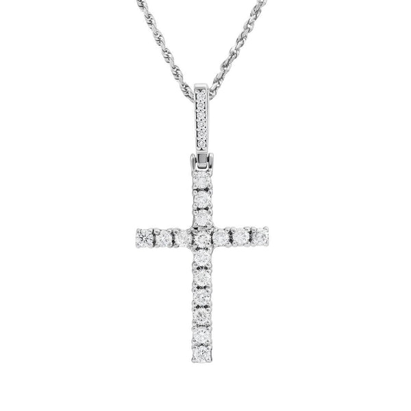 White 14k White Gold Diamond Cross Pendant 1.59 Ctw