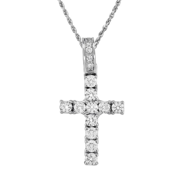 14K White Gold Diamond Cross Pendant 2.20 Ctw