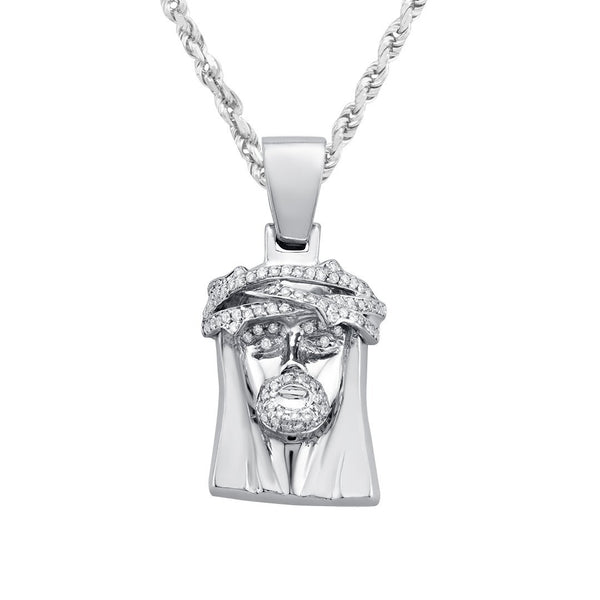 White 14k White Gold Diamond Jesus Piece 0.75ctw
