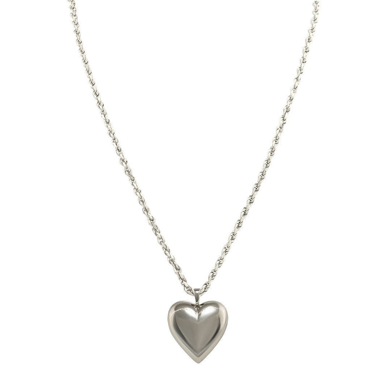 14k White Gold Heart Pendant 4.35 Ctw