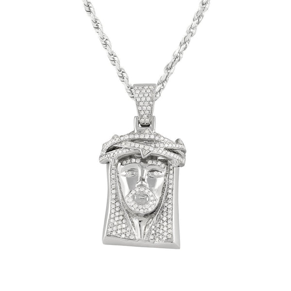 14K White Gold Jesus Head Pendant With Round Cut Diamonds 1.72 Ctw