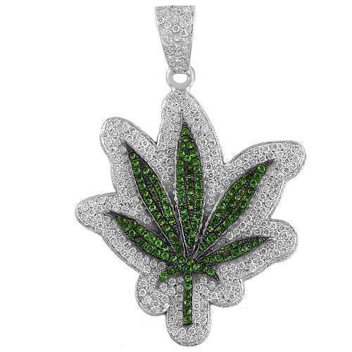 14K White Gold Marijuana Leaf Emerald Diamond Pendant 3.00Ctw