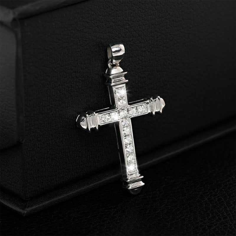 White 14K White Gold Mens Diamond Cross Pendant 1.25 Ctw
