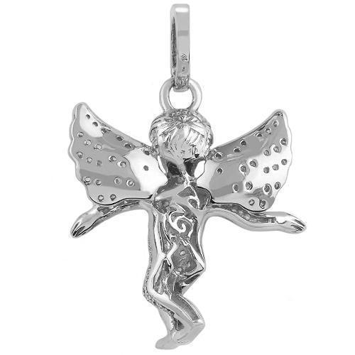 White 14K White Solid Gold Diamond Angel Pendant 1.00 Ctw