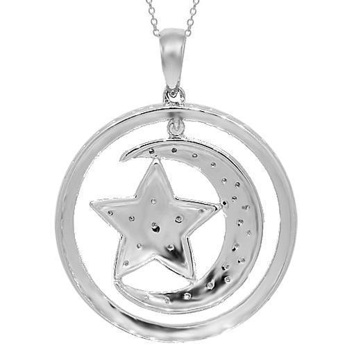 White 14K White Solid Gold Diamond Moon and Star Pendant 0.10 Ctw