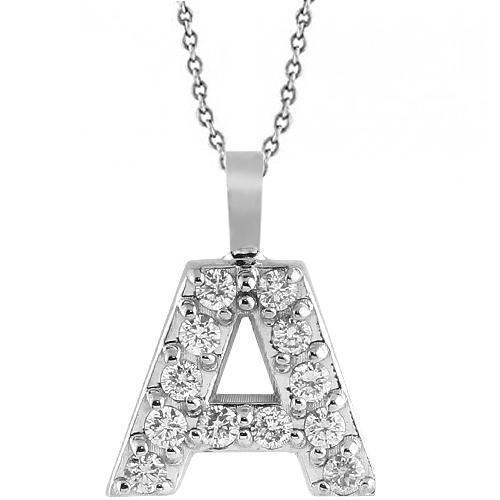 White 14K White Solid Gold Initial Letter A Diamond Pendant 0.50 Ctw