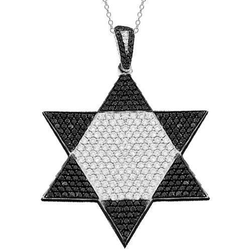White 14K White Solid Gold Mens Custom Diamond Star of David Pendant with Black Diamonds