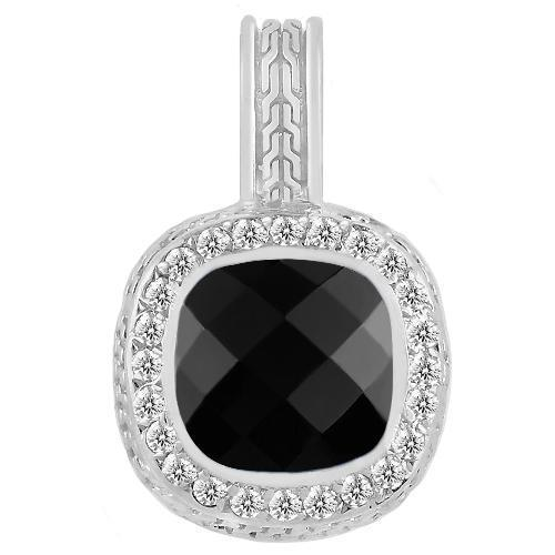 14K White Solid Gold Mens Diamond Black Onyx Pendant 1.75 Ctw